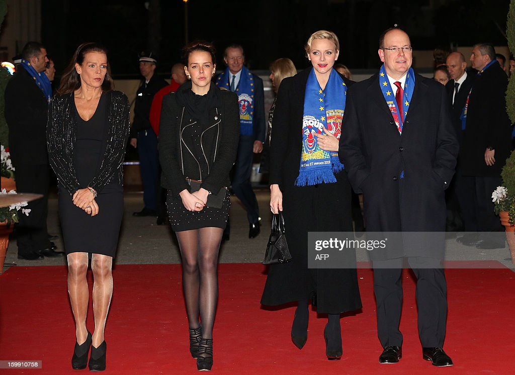 Princess Stephanie of Monaco, her daughter Pauline Ducruet, Princess Charlene and Prince Albert II of Monaco, arrive surrounded by clowns for the official Award Gala Evening of the 37th International Circus Festival of Monte Carlo in Monaco, 22 January 2013.