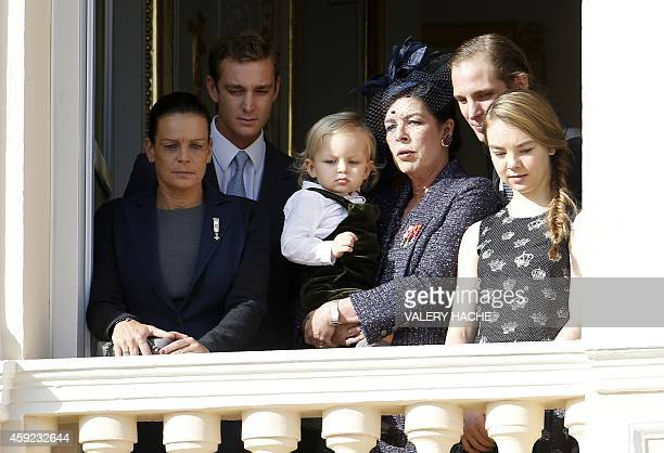 Princess Stephanie of Monaco Pierre Casiraghi Sacha Casiraghi princess Caroline of Hanover Andrea Casiraghi and Princess Alexandra appear on the...
