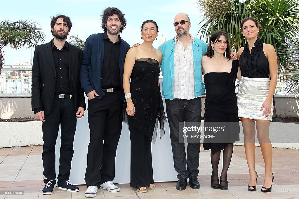 Producer Ivan Eibuszyc, director Ivan Fund, Argentinian actress Eva Bianco, director Santiago Loza, editor Lorena Moriconi and actress Victoria Raposo pose during the photocall of 'Los Labios' (The Lips) presented in the Un Certain Regard selection at the 63rd Cannes Film Festival on May 18, 2010 in Cannes.