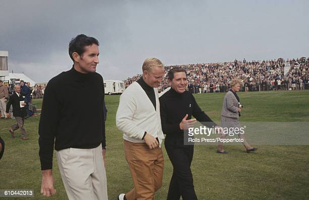 From left Professional golfers Bob Charles Jack Nicklaus and Gary Player pictured together on the fairway during the final round of play at the 1968...