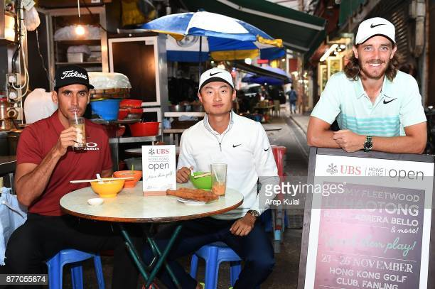 From left Rafa Cabrera Bello of Spain Li Haotong of China and Tommy Fleetwood of England pictured during the photocall ahead of UBS Hong Kong Open at...