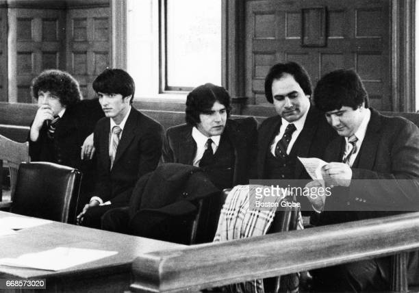 From left rape trial defendants Robert Tarr Alexander Aldoupolis John Strickland Richard Dovel and Mark Savoy sit in an empty Norfolk County...