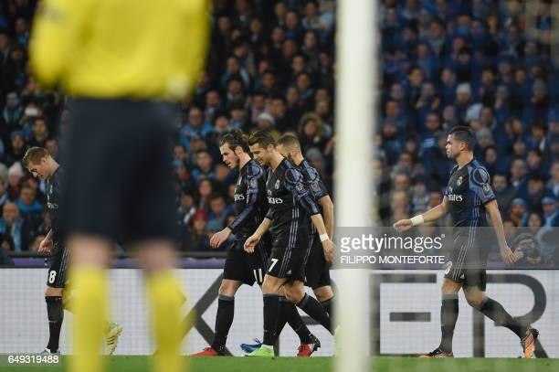Real Madrid's German midfielder Toni Kroos Real Madrid's Welsh forward Gareth Bale Real Madrid's Portuguese forward Cristiano Ronaldo Real Madrid's...