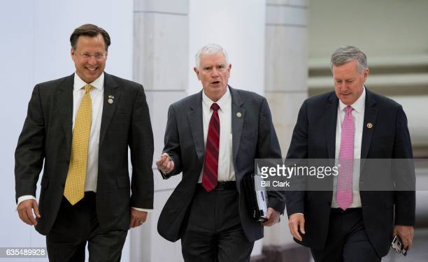 From left Rep Dave Brat RVa Rep Mo Brooks RAla and Rep Mark Meadows RNC chair of the House Freedom Caucus arrive for the news conference on...