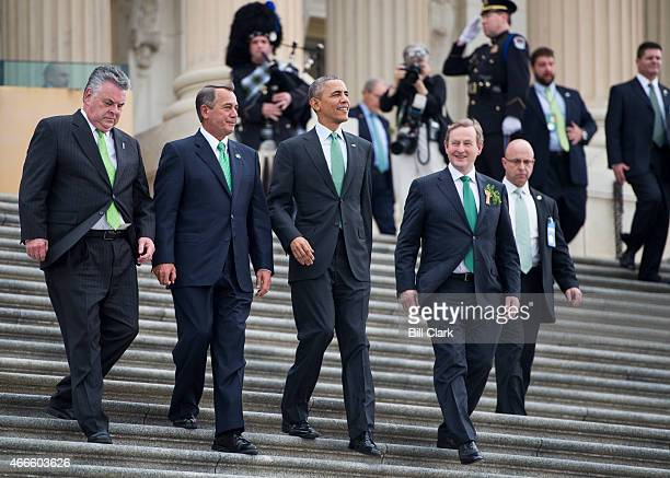 From left Rep Peter King RNY Speaker of the House John Boehner ROhio President Barack Obama and Irish Prime Minister Enda Kenny walk down the House...