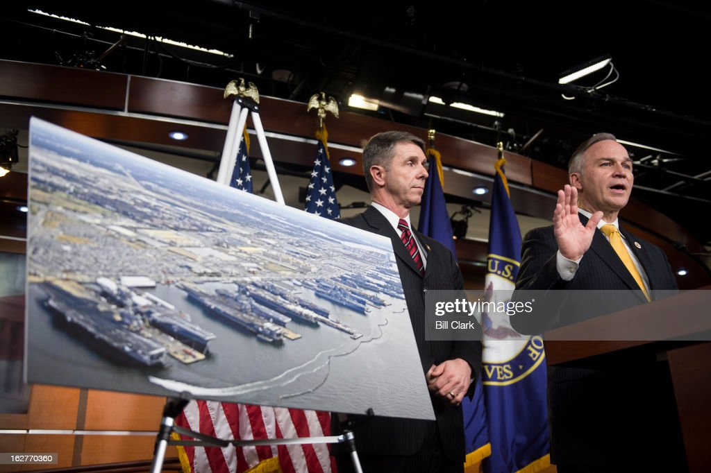 From left, Rep. Robert Wittman, R-Va., chairman of the House Armed Service's Committee Readiness Subcommittee, and Rep. Randy Forbes, R-Va., chairman of the House Armed Services Committee's Seapower and Projection Forces Subcommittee, hold a news conference in the Capitol on President Obama's visit and remarks to defense industry workers about the sequester in Virginia on Tuesday, Feb. 26, 2013.