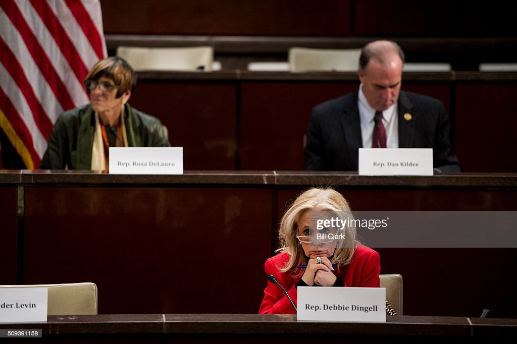 From left, Rep. Rosa DeLauro, D-Conn., Rep. Debbie Dingell, D-Mich., and Rep. Dan Kildee, D-Mich., participate in the House Democratic Steering & Policy Committee hearing on 'The Flint Water Crisis: Lessons for Protecting America's Children' on Wednesday, Feb. 10, 2016.