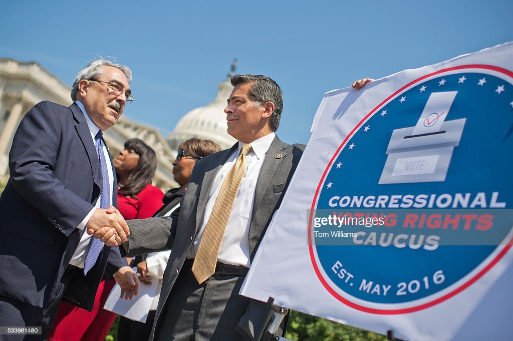 From left, Reps. G.K. Butterfield, D-N.C., Terri Sewell, D-Ala., Eddie Bernice Johnson, D-Texas, and Xavier Becerra, D-Calif., conduct a news conference at the House Triangle to launch the Voting Rights Caucus, May 24, 2016.