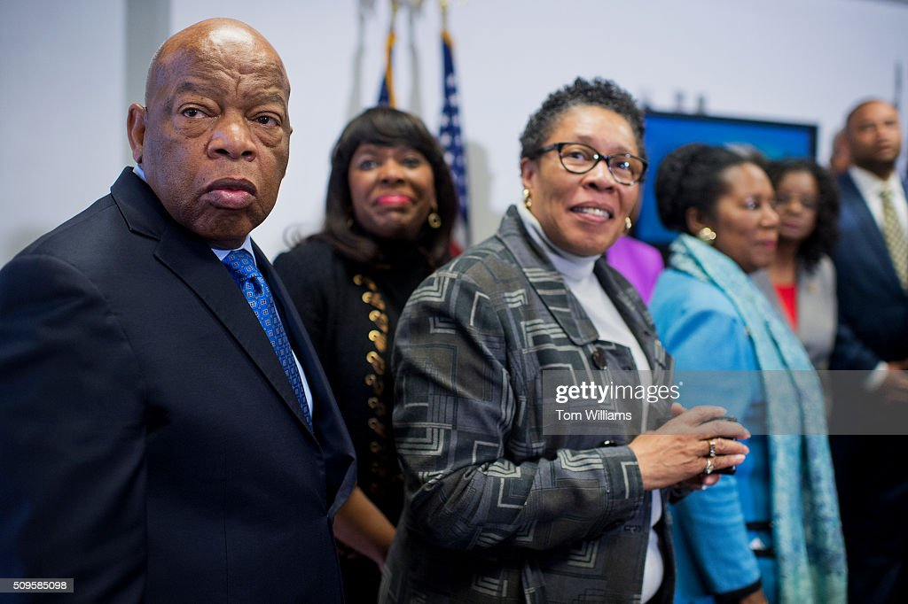 From left, Reps. John Lewis, D-Ga., Terri Sewell, D-Ala., and Marcia Fudge, D-Ohio, attend a news conference at the DNC where members of the Congressional Black Caucus PAC endorsed Hillary Clinton for president, February 11, 2016.