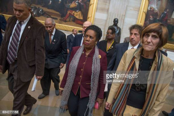 From left Reps Lacy Clay DMo John Conyers DMich Steve Cohen DTenn Sheila Jackson Lee DTexas Gwen Moore DWis Jamie Raskin DMd and Rosa DeLauro DConn...