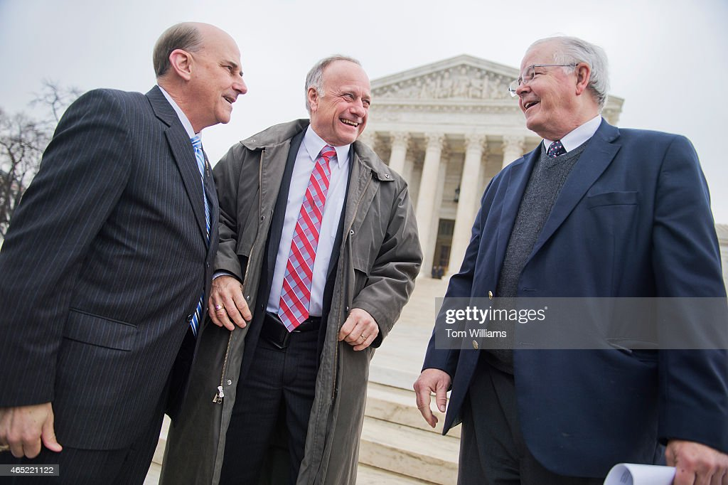From left, Reps. Louie Gohmert, R-Texas, Steve King, R-Iowa, and <a gi-track='captionPersonalityLinkClicked' href=/galleries/search?phrase=Joe+Barton&family=editorial&specificpeople=653902 ng-click='$event.stopPropagation()'>Joe Barton</a>, R-Texas, attend a rally outside of the Supreme Court during arguments in the King v. Burwell case which deals with tax credits in the Affordable Care Act, March 4, 2015.