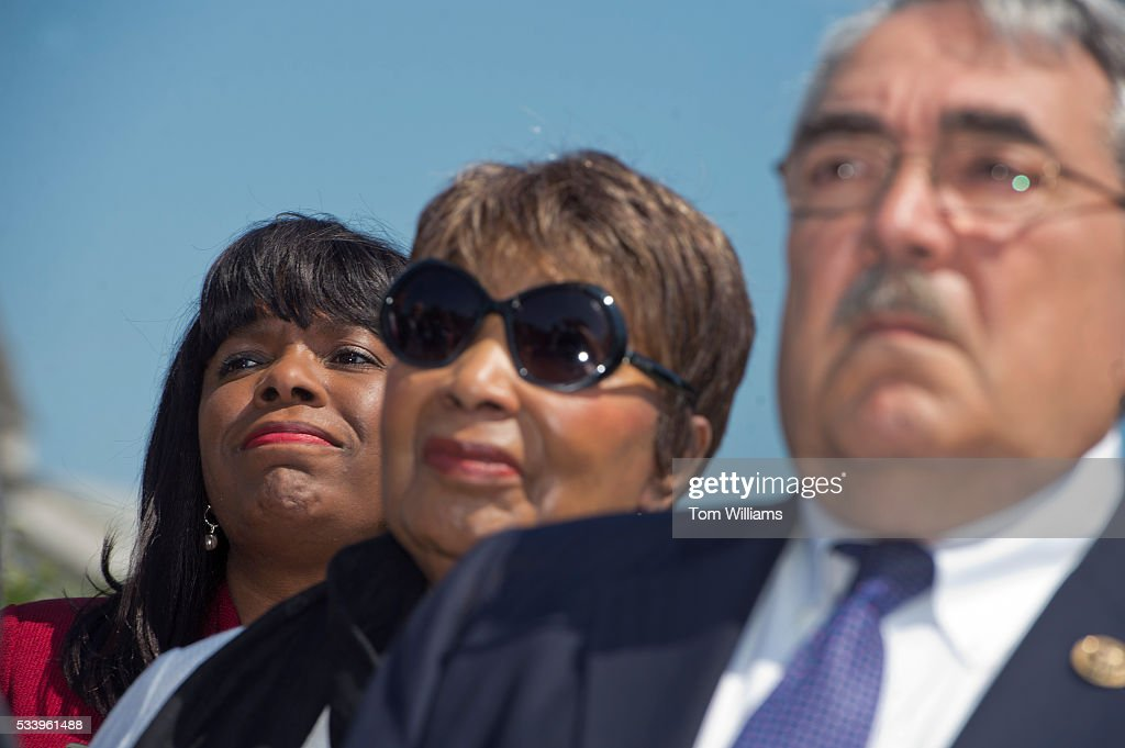 From left, Reps. Terri Sewell, D-Ala., Eddie Bernice Johnson, D-Texas, and G.K. Butterfield, D-N.C., conduct a news conference at the House Triangle to launch the Voting Rights Caucus, May 24, 2016.