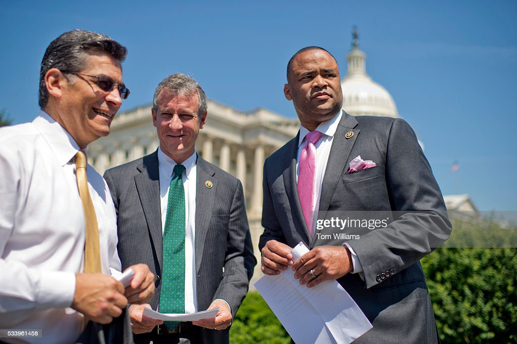 From left, Reps. Xavier Becerra, D-Calif., Matt Cartwright, D-Pa., and Marc Veasey, D-Texas, prepare for a news conference at the House Triangle to launch the Voting Rights Caucus, May 24, 2016.