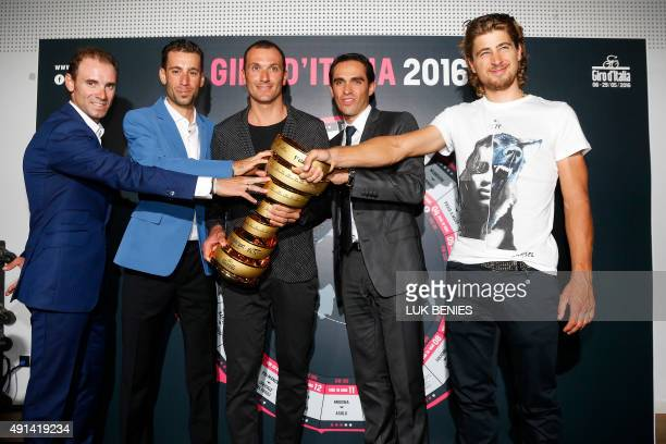 Riders Alejandro Valverde of Spain Vincenzo Nibali of Italy Ivan Basso of Italy Alberto Contador of Spain and Peter Sagan of Slovakia pose with the...