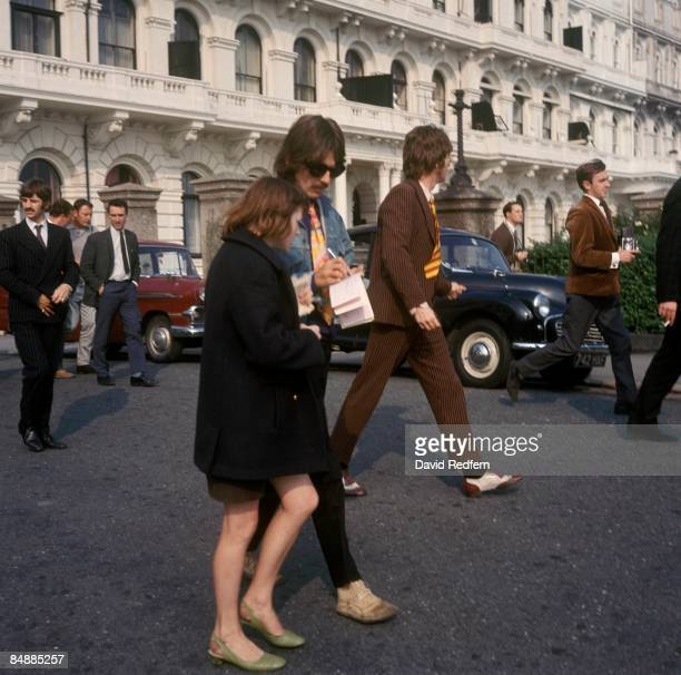 Photo of John LENNON and George HARRISON and MAGICAL MYSTERY TOUR and BEATLES LR Ringo Starr George Harrison John Lennon during filming of 'Magical...