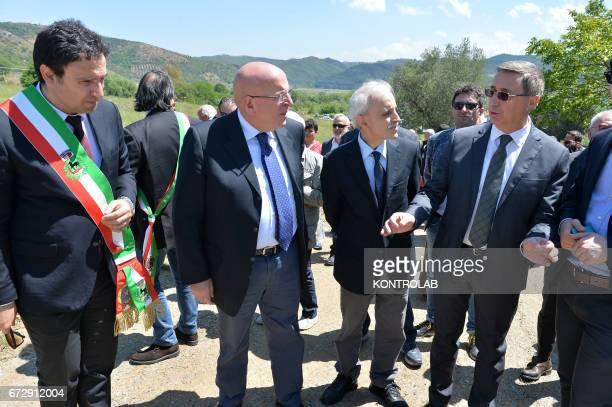 From left Roberto Ameruso Mayor of Tarsia Mario Oliverio President of Calabria Region Franco Corbelli leader of the Civil Rights Movement and...