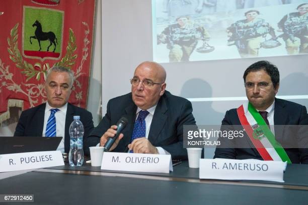From left Rocco Pugliese Calabria's Jewish community manager Mario Oliverio President of Calabria Region and Roberto Ameruso mayor of Tarsia during...