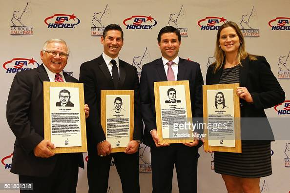From left Ron DeGregorio Mathieu Schneider Chris Drury and Angela Ruggiero stand for a photo before the US Hockey Hall of Fame Induction ceremony at...