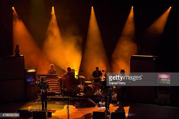 From left Ryan Adams Daniel Clarke Freddie Bokkenheuser Mike Viola and Charlie Stavish perform at Red Rocks Amphitheatre on June 4 in Morrison...