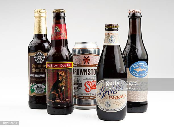 From left Samuel Smith's Nut Brown Ale Smuttynose Old Brown Dog Ale Brownstone Brekle's Brown and Dogfish Head Indian Brown Ale are photographed for...