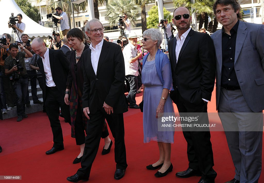 screenwriter Paul Laverty, producer Rebecca O'Brien, British director Ken Loach and his wife Lesley Ashton, British actor Mark Womack and John Bishop arrive for the screening of 'Route Irish' presented in competition at the 63rd Cannes Film Festival on May 20, 2010 in Cannes.
