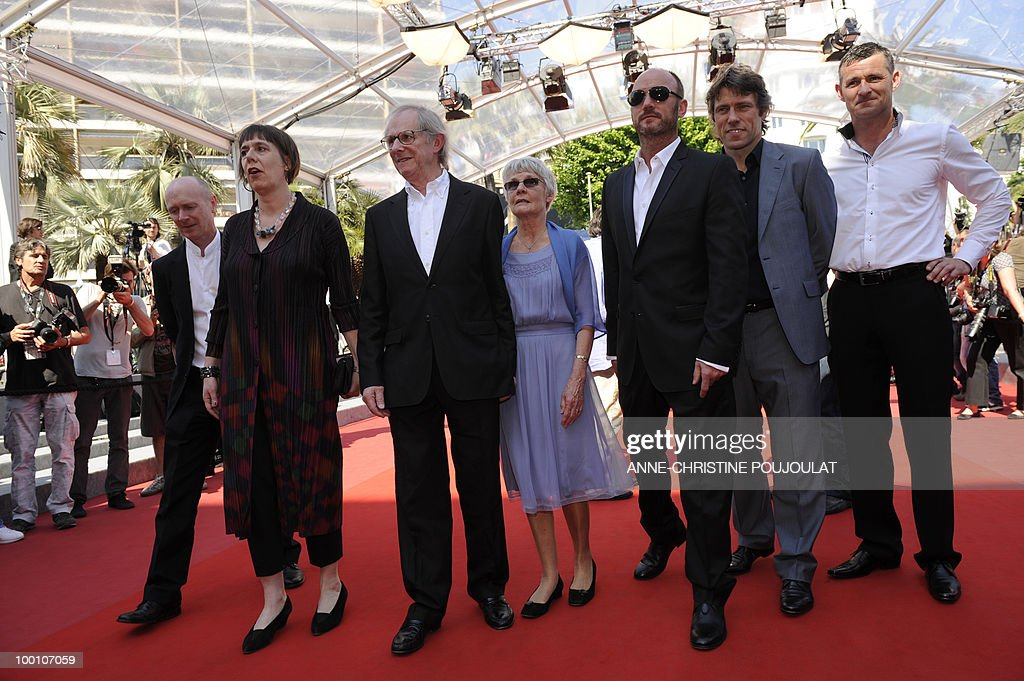 screenwriter Paul Laverty, producer Rebecca O'Brien, British director Ken Loach and his wife Lesley Ashton, British actors Mark Womack, John Bishop and Trevor Williams arrive for the screening of 'Route Irish' presented in competition at the 63rd Cannes Film Festival on May 20, 2010 in Cannes.