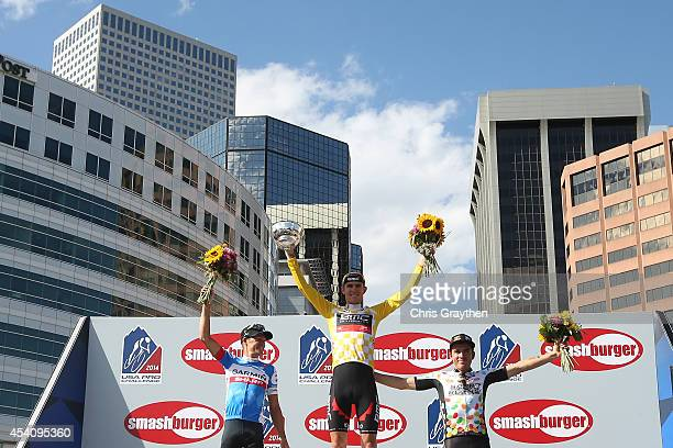 From left second overall Tom Danielson of the United States riding for Garmin Sharp winner Tejay van Garderen of the United States riding for the BMC...