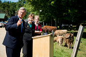 From left Secretary of Agriculture Tom Vilsack Sen Jeanne Shaheen DNH and New Hampshire Commissioner of Agriculture Lorraine Merrill hold their press...
