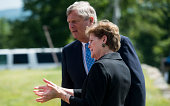 From left Secretary of Agriculture Tom Vilsack Sen Jeanne Shaheen DNH arrive for their press conference at the Miles Smith Farm in Loudon NH on...