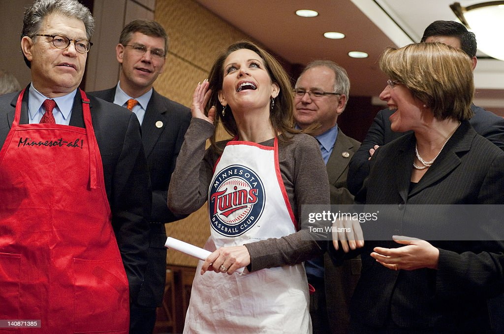From left, Sen. Al Franken, D-Minn., Reps. Erik Paulsen, R-Minn., Michele Bachmann, R-Minn., Tim Walz, D-Minn., and Sen. Amy Klobuchar, D-Minn., prepare for the second annual 'hotdish' competition in the Capitol Visitor Center, featuring casserole-like dishes from members of the Minnesota Congressional Delegation. The dishes of Sen. Franken and Rep. Chip Cravaack, R-Minn., tied for first place in the competition.