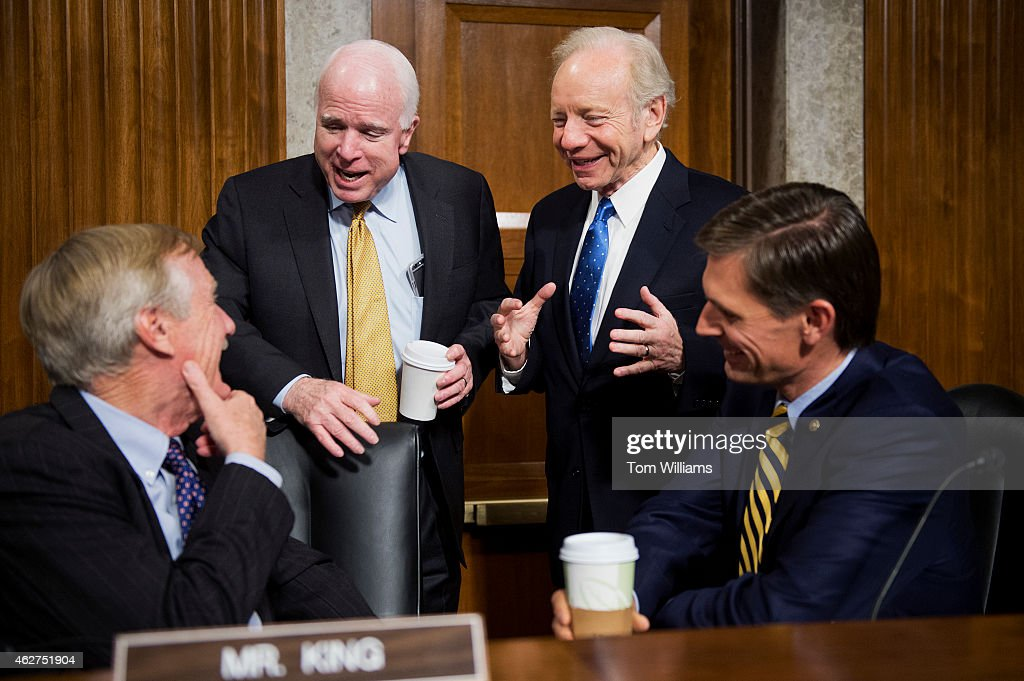 From left, Sen. <a gi-track='captionPersonalityLinkClicked' href=/galleries/search?phrase=Angus+King&family=editorial&specificpeople=2102168 ng-click='$event.stopPropagation()'>Angus King</a>, I-Me., Chairman <a gi-track='captionPersonalityLinkClicked' href=/galleries/search?phrase=John+McCain&family=editorial&specificpeople=125177 ng-click='$event.stopPropagation()'>John McCain</a>, R-Ariz., former Sen. Joe Lieberman, I-Conn., and <a gi-track='captionPersonalityLinkClicked' href=/galleries/search?phrase=Martin+Heinrich&family=editorial&specificpeople=5592274 ng-click='$event.stopPropagation()'>Martin Heinrich</a>, D-N.M., talks during a break in a Senate Armed Services Committee confirmation hearing in Dirksen Building on the nomination of <a gi-track='captionPersonalityLinkClicked' href=/galleries/search?phrase=Ashton+Carter&family=editorial&specificpeople=956792 ng-click='$event.stopPropagation()'>Ashton Carter</a> to be Secretary of Defense, February 4, 2015.