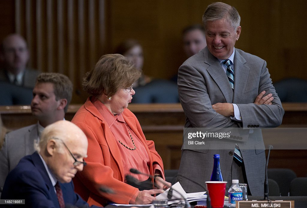 From left, Sen. Herb Kohl, D-Wisc., Sen. Barbara Mikulski, D-Md., and Sen. Lindsey Graham, R-S.C., arrive for the Senate Appropriations Committee markup of the FY2013 State, Foreign Operations Appropriations bill on Thursday, May 24, 2012.