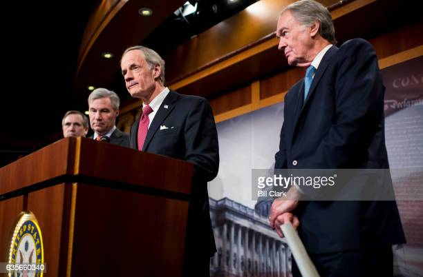 From left Sen Jeff Merkley DOre Sen Sheldon Whitehouse DRI Sen Tom Carper DDel and Sen Ed Markey DMass hold a news conference on the nomination of...