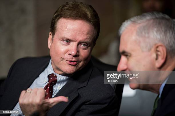 From left Sen Jim Webb DVa and Sen Jack Reed DRI speak before the start of the Senate Armed Services Committee confirmation hearing on Marine Corps...