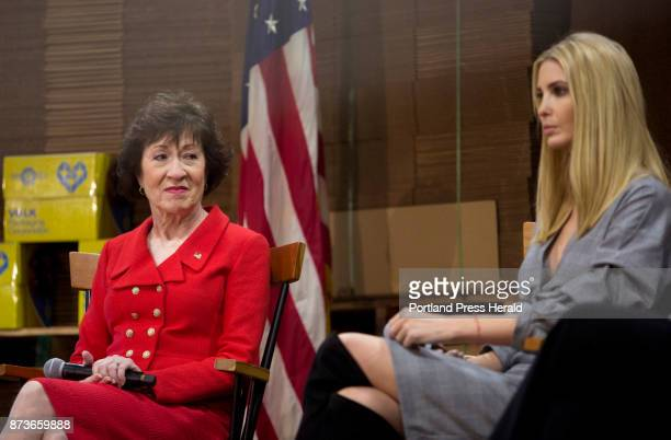From left Sen Susan Collins and Ivanka Trump during a panel discussion alongside US Treasurer Jovita Carranza about the Republican tax reform plan at...
