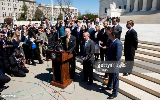 From left Senate Judiciary chairman Sen Chuck Grassley RIowa Sen Lindsey Graham RSC Sen Mike Lee RUtah and Sen Ted Cruz RTexas hold a news conference...