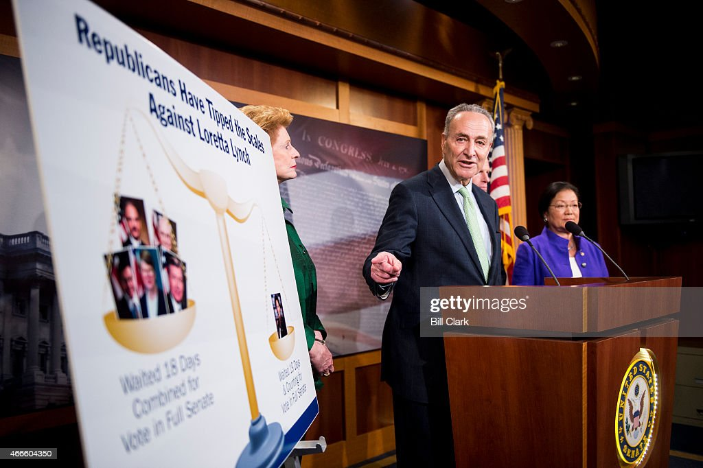 From left, Senate Judiciary Committee Democrats Sen. <a gi-track='captionPersonalityLinkClicked' href=/galleries/search?phrase=Debbie+Stabenow&family=editorial&specificpeople=221624 ng-click='$event.stopPropagation()'>Debbie Stabenow</a>, D-Mich., Sen. Chuck Schumer, D-N.Y., Sen. <a gi-track='captionPersonalityLinkClicked' href=/galleries/search?phrase=Richard+Blumenthal&family=editorial&specificpeople=1036916 ng-click='$event.stopPropagation()'>Richard Blumenthal</a>, D-Conn., and Sen. <a gi-track='captionPersonalityLinkClicked' href=/galleries/search?phrase=Mazie+Hirono&family=editorial&specificpeople=3461717 ng-click='$event.stopPropagation()'>Mazie Hirono</a>, D-Hawaii, hold a news conference on Tuesday, March 17, 2015, to urge Leader McConnell to schedule a vote this week to confirm <a gi-track='captionPersonalityLinkClicked' href=/galleries/search?phrase=Loretta+Lynch&family=editorial&specificpeople=4351972 ng-click='$event.stopPropagation()'>Loretta Lynch</a> to be the next Attorney General.