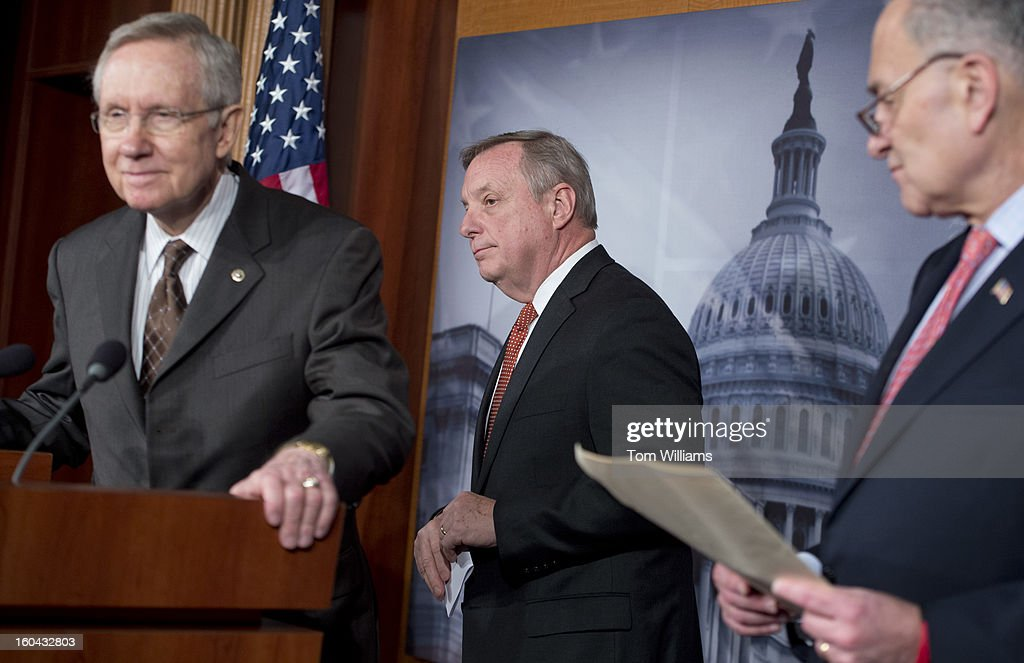 From left, Senate Majority Leader Harry Reid, D-Nev., Senate Majority Whip Richard Durbin, D-Ill., and Sen. Chuck Schumer, D-N.Y., conduct a news conference in the Capitol on immigration reform.