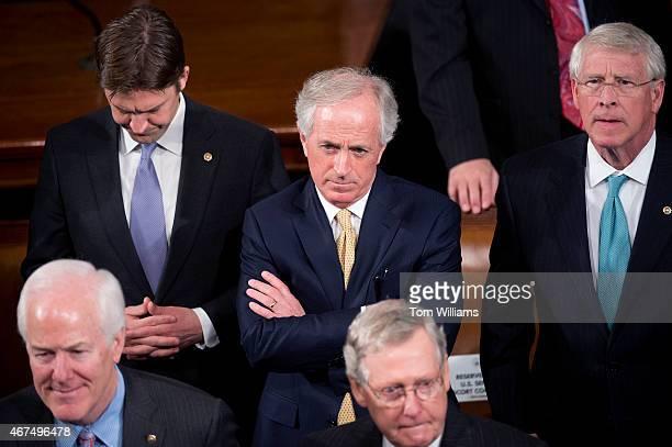 From left Senate Majority Whip John Cornyn RTexas Sen Ben Sasse RNeb Sen Bob Corker RTenn Senate Majority Leader Mitch McConnell RKy and Sen Roger...
