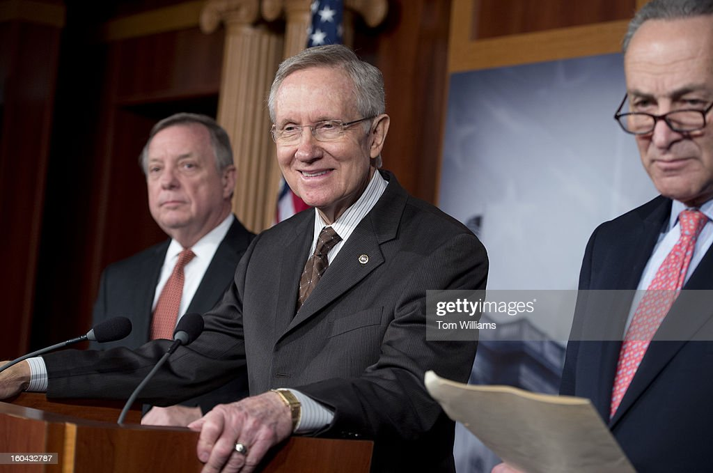 From left, Senate Majority Whip Richard Durbin, D-Ill., Senate Majority Leader Harry Reid, D-Nev., and Sen. Chuck Schumer, D-N.Y., conduct a news conference in the Capitol on immigration reform.