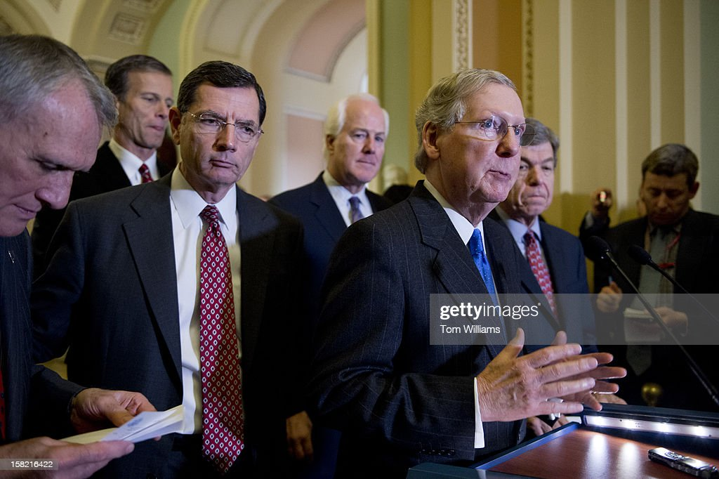 From left, Senate Minority Whip Jon Kyl, R-Ariz., Sens. John Thune, R-S.D., John Barrasso, R-Wyo., John Cornyn, R-Texas, Senate Minority Leader Mitch McConnell, R-Ky., and Sen. Roy Blunt, R-Mo., conduct a news conference in the Ohio Clock Corridor after the senate luncheons in the Capitol. The impending 'fiscal cliff' was mainly discussed.