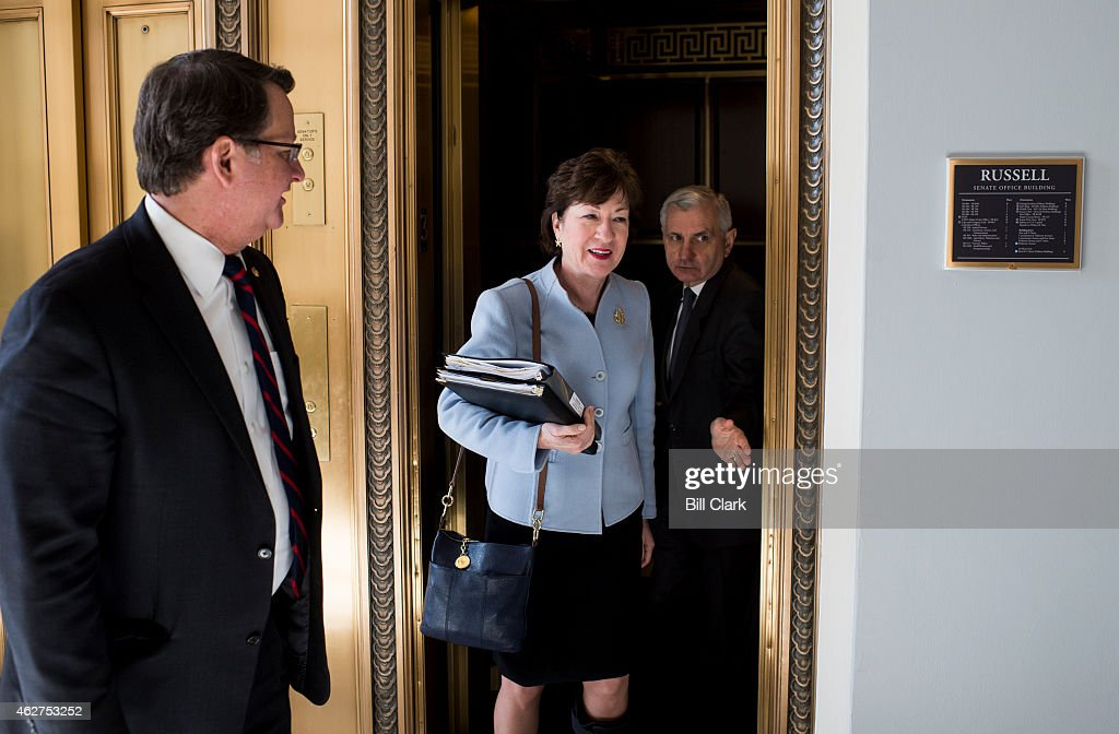 From left, Sens. Gary Peters, D-Mich., <a gi-track='captionPersonalityLinkClicked' href=/galleries/search?phrase=Susan+Collins+-+Politician&family=editorial&specificpeople=212962 ng-click='$event.stopPropagation()'>Susan Collins</a>, R-Maine, and <a gi-track='captionPersonalityLinkClicked' href=/galleries/search?phrase=Jack+Reed+-+Politician&family=editorial&specificpeople=534274 ng-click='$event.stopPropagation()'>Jack Reed</a>, D-R.I., arrive for the bipartisan Senate luncheon in the Kennedy Caucus Room in the Russell Senate Office Building on Wednesday, Feb. 4, 2015.