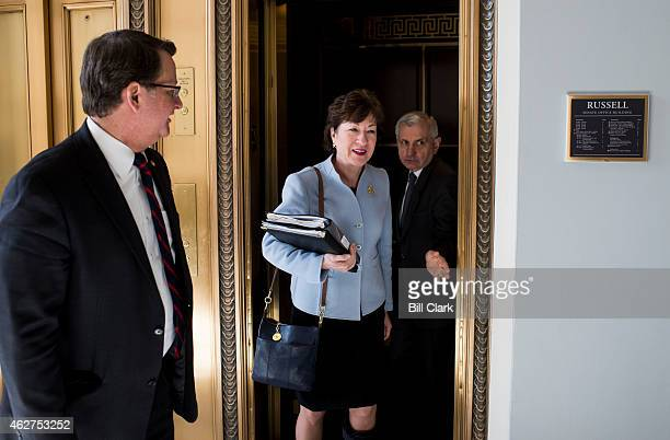 From left Sens Gary Peters DMich Susan Collins RMaine and Jack Reed DRI arrive for the bipartisan Senate luncheon in the Kennedy Caucus Room in the...