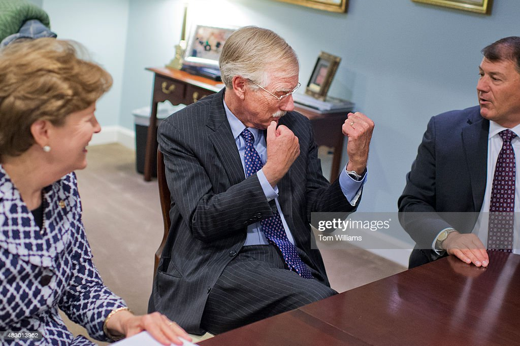 From left, Sens. <a gi-track='captionPersonalityLinkClicked' href=/galleries/search?phrase=Jeanne+Shaheen&family=editorial&specificpeople=5591285 ng-click='$event.stopPropagation()'>Jeanne Shaheen</a>, D-N.H., <a gi-track='captionPersonalityLinkClicked' href=/galleries/search?phrase=Angus+King&family=editorial&specificpeople=2102168 ng-click='$event.stopPropagation()'>Angus King</a>, I-Me., and <a gi-track='captionPersonalityLinkClicked' href=/galleries/search?phrase=Mike+Rounds&family=editorial&specificpeople=3082179 ng-click='$event.stopPropagation()'>Mike Rounds</a>, R-S.D., Co-chairmen of the Former Governors Caucus, are interviewed by Roll Call in the Capitol, August 4, 2015.