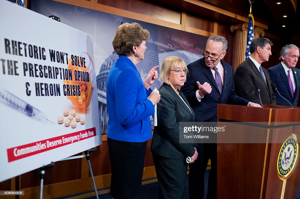 From left, Sens. Jeanne Shaheen, D-N.H., Patty Murray, D-Wash., Charles Schumer, D-N.Y., Joe Manchin, D-W.Va., and Ed Markey, D-Mass., conduct a news conference in the Capitol's Senate studio to call for funding to address opioid abuse, February 11, 2016.