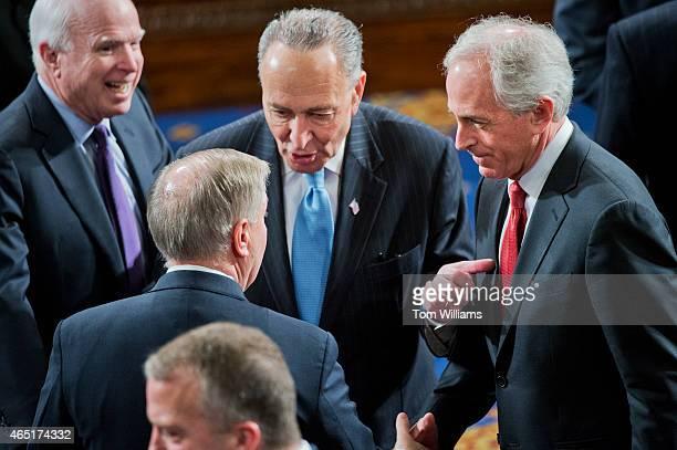From left Sens John McCain RAriz Charles Schumer DNY Lindsey Graham RSC and Bob Corker RTenn are pictured in the House chamber before Israeli Prime...