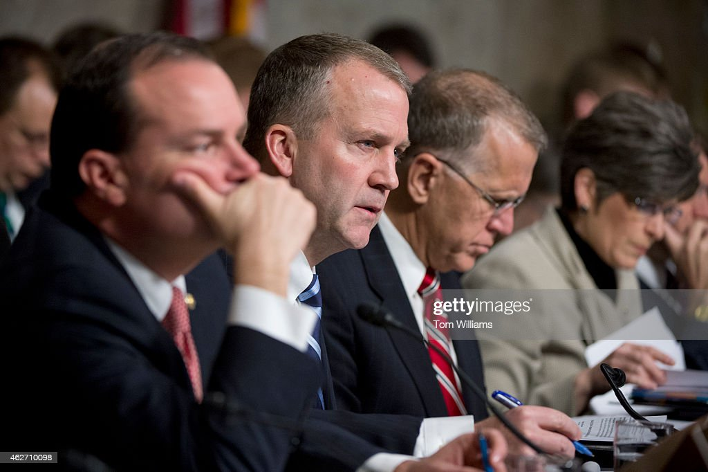 From left, Sens. Mike Lee, R-Utah., Dan Sullivan, R-Alaska, Thom Tillis, R-N.C., and Joni Ernst, R-Iowa, attend a Senate Armed Services Committee hearing in Dirksen Building titled the 'Findings of the Military Compensation and Retirement Modernization Commission,' February 3, 2015.