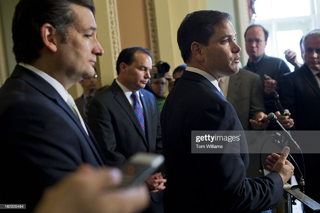 From left, Sens. Ted Cruz, R-Texas, Mike Lee, R-Utah, and Marco Rubio, R-Fla., speak to the media after the Senate voted to pass the continuing resolution.