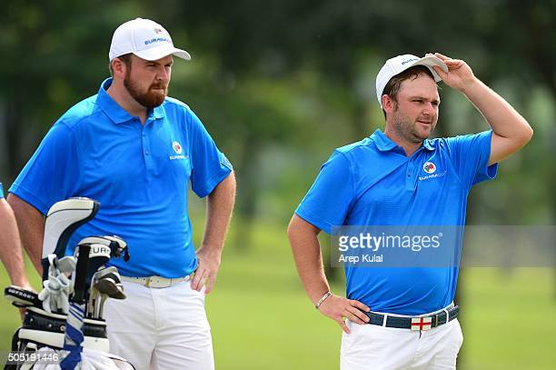 From left Shane Lowry and Andy Sullivan of Team Europe pictured during the day two of the EurAsia 2016 presented by DRBHICOM at Glenmarie GCC on...