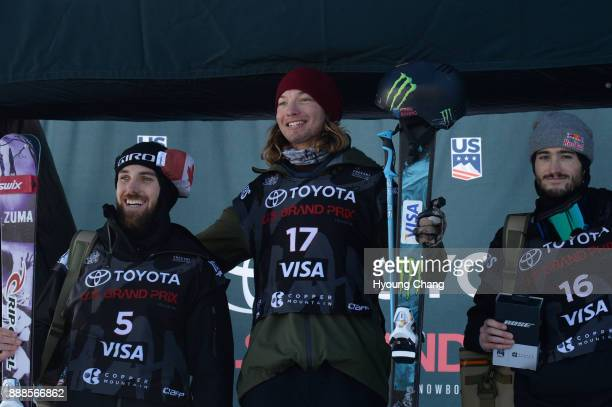From left Simon D'Artois of Canada David Wise of USA and Noah Bowman of Canada are on the podium after the final of men's ski halfpipe of Toyota US...